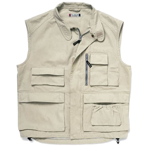 GILET `ARLINGTON` MULTITASCHE CANVAS 100% BEIGE TG.XS-2XL